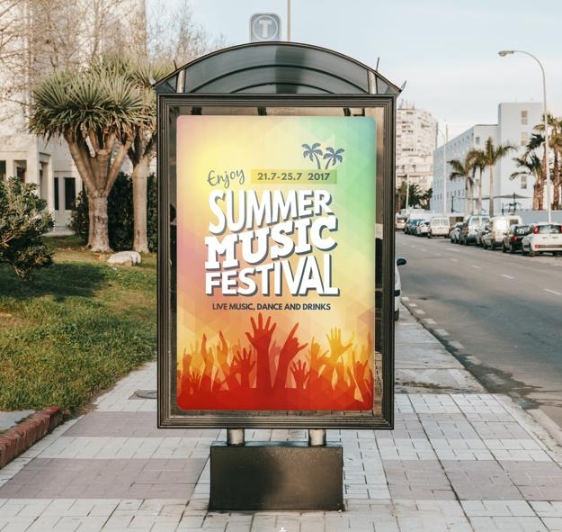 thiết kế phông bạt, biển quảng cáo với màu sắc tương phản