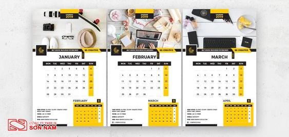 Thiết kế lịch độc quyền mẫu treo tường theo yêu cầu