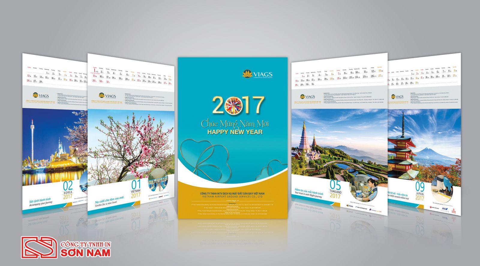 thiết kế lịch độc quyền thương hiệu tại In Sơn Nam